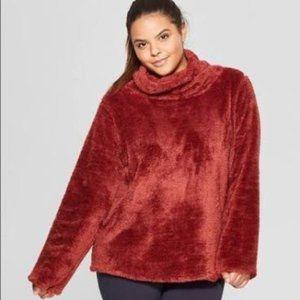 Joy Lab Cozy Fuzzy Pullover Sweatshirt Rust XL